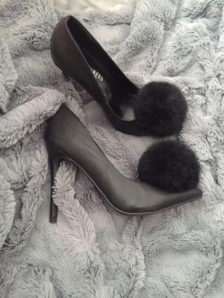 Black Heels with Pom Pom detailing