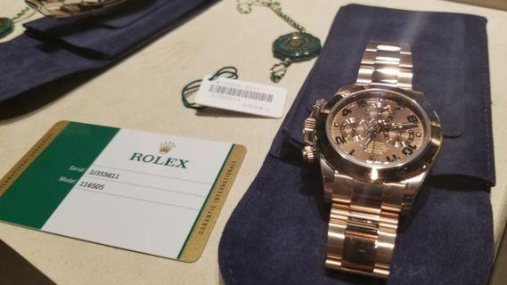 Rolex 勞力士 Daytona 18kt Rose Gold Chocolate Arabic Dial 116505