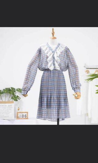 正韓藍色格紋蕾絲雪紡洋裝