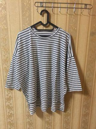 bigsize jumbo stripe top