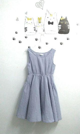 Blue sleeveless stripes dress light blue dress #EST50