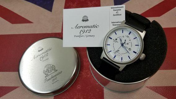 Aeromatic 德國飛機師腕錶 - A1359 (儲能白面藍點大飛)