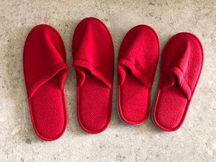 Free! Red slippers for man and woman