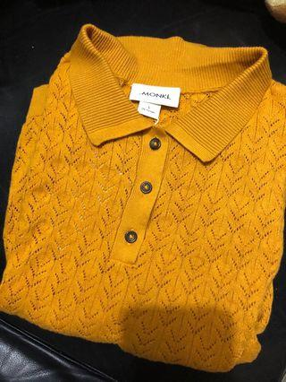 復古姜黃polo針織短衫
