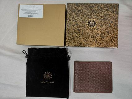 Amouage bill fold wallet small logo brown leather calfskin