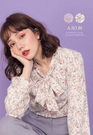 A-SO-BI購入💗正韓 領口蝴蝶結綁帶浪漫小碎花上衣 白