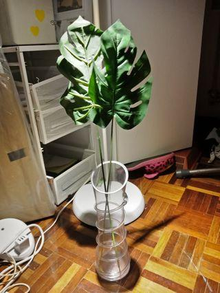 Glass vases flower artificial free monstera leaf