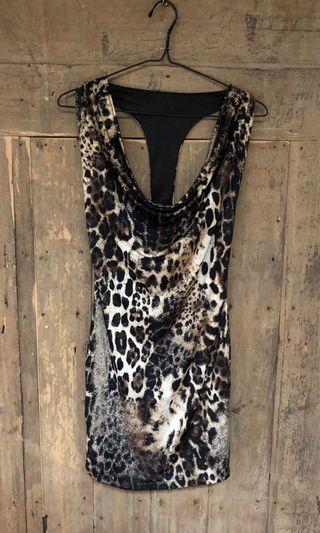 Leopard Print Cowl Neck