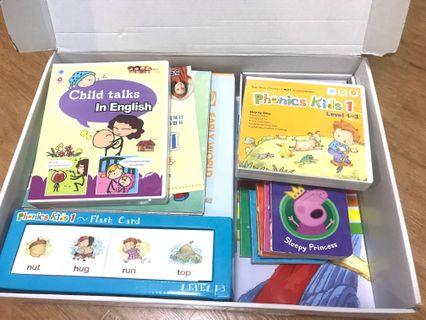 3 packages of early age English education books, Phonic, world book Trek and Child Talks (Videos, books, poster and CD)