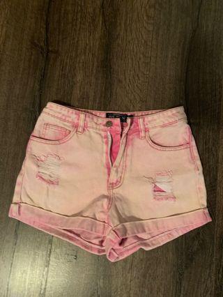 Acid washed pink shorts