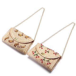 Bohemian Style Wheat Straw Sling Bag - Cherry and Banana