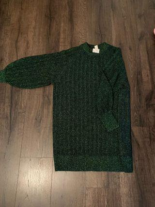Sparkly green sweater dress BNWT