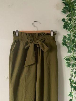 Army Green paper bag waist khaki pants