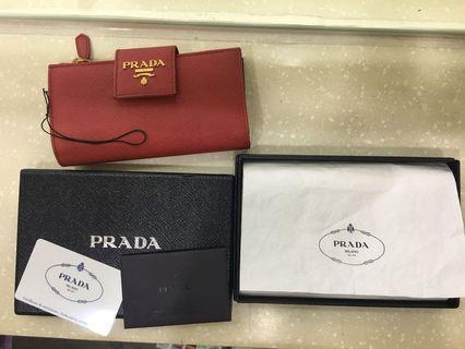 再降價不議 超新啦Prada新款二手中夾真品 紅色