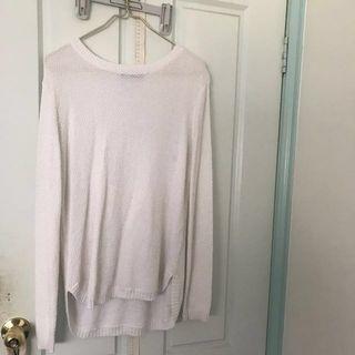 White Oversized Knit Sweater