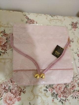 Authentic Japan pink silk drawstring pouch