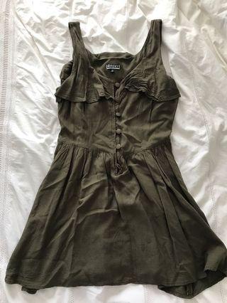 khaki flowy mini dress