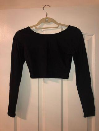 Black crop long sleeve top size small