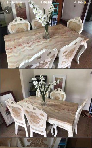 🚚 Marble dining Table with chairs