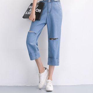 Ripped Jeans/ High waist/ Wide leg jeans/ Denim/ Light wash denim / Denim Culottes