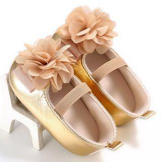 Instock - gold crib shoes, baby infant toddler girl