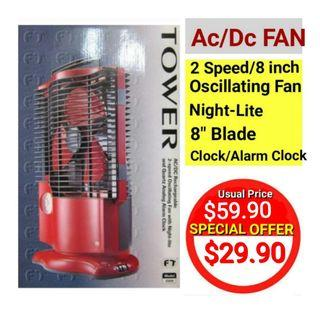 👍👍Best Offers on 2-speed Oscillating Fan with AC/DC Rechargeable, Night-Lite and Quartz Analog Alarm Clock. Usual Price :$59.90 Now : $29.90 (Brand  new in box)