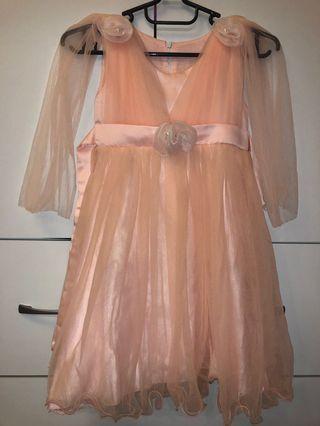 🚚 6-8歲 粉紅 粉色 公主 紗裙 禮服 婚禮 晚宴 宴會 發表會 洋裝