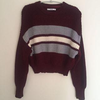 Pull&Bear Maroon Sweater