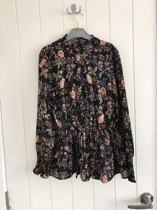 Floral High Neck Ruffled Blouse