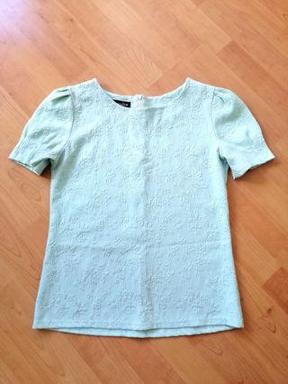 Mint embroidery top