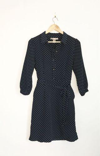 F21 navy white polka dot dress