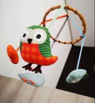 Baby Cot Mobile. Fly Owl. Organic with Bamboo. NEW ❗