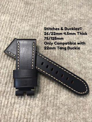 🚚 26/22mm Quality Thick Calf Dark Brown Leather Strap for Panerai 45/47mm Radiomir 47mm Luminor / Submersible Models