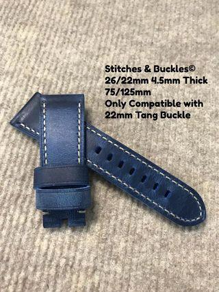 26/22mm Quality Thick Calf Denim Blue Leather Strap for Panerai 45/47mm Radiomir 47mm Luminor / Submersible Models