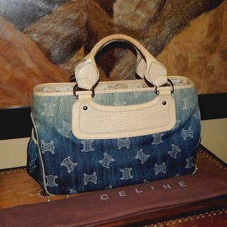 Sale!! CELINE faded denim & mock croc leather boogie handbag