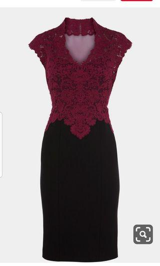 Karen millen burgundy lace dress