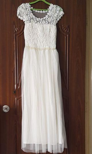 white crochet long dress/gown