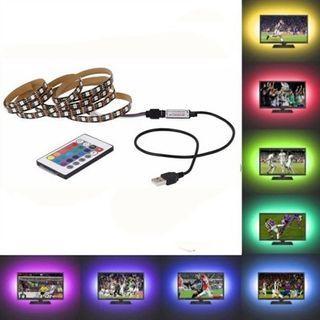 OMTO USB LED Strip 5050 RGB TV Backlight Flexible Light Tape 24Key RF Controller (MULTI