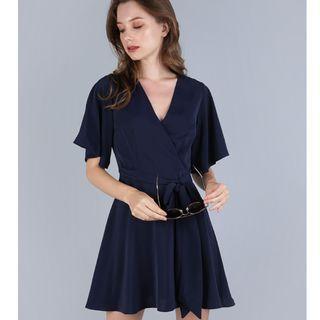 IZABELA FLARE SLEEVE DRESS (NAVY)