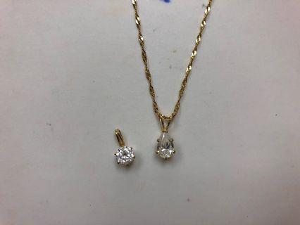 10K Yellow Gold CZ Necklace