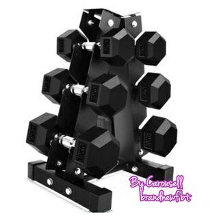 Dumbbell with rack
