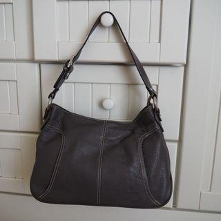 [GENUINE & PRELOVED] UK Brand Hexagona dark grey leather handbag