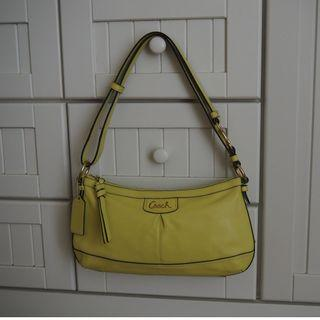 [GENUINE & PRELOVED] Limegreen leather Coach hand bag