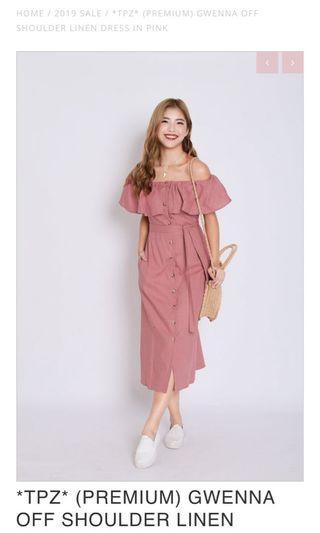 444c974e74 (BN) Topazette Gwenna Off Shoulder Linen Dress in Pink