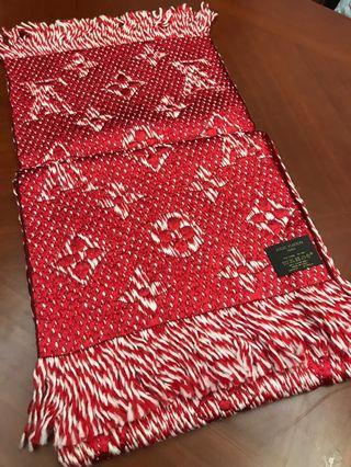 真品LV全新Louis Vuitton超美紅色圍巾