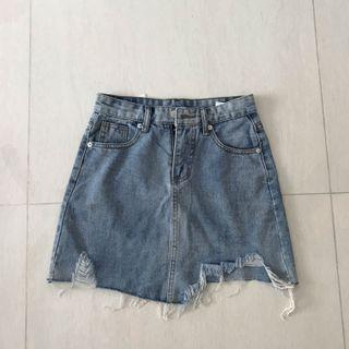 Ulzzang Denim Ripped Skirt