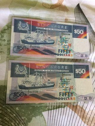 Singapore Ship Series $50 replacement Bank note