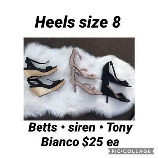 Betts, siren, Tony Bianco heels size 8