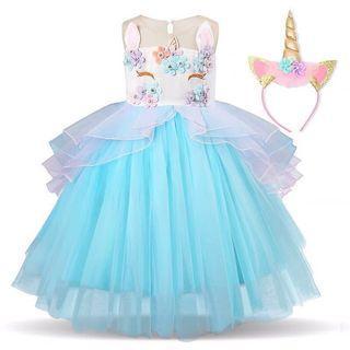 🚚 Girl Princess Dress Unicorn with Horn Tiara