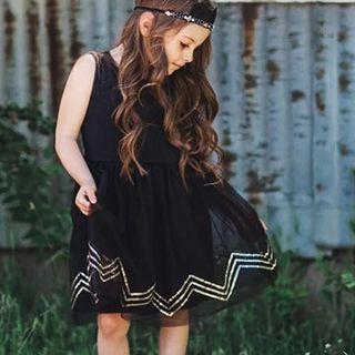 ✔️STOCK - GOLD SEQUINS ACCENT BLACK TULLE FROCK PARTY GIRLS DRESS KIDS CHILDREN CLOTHING
